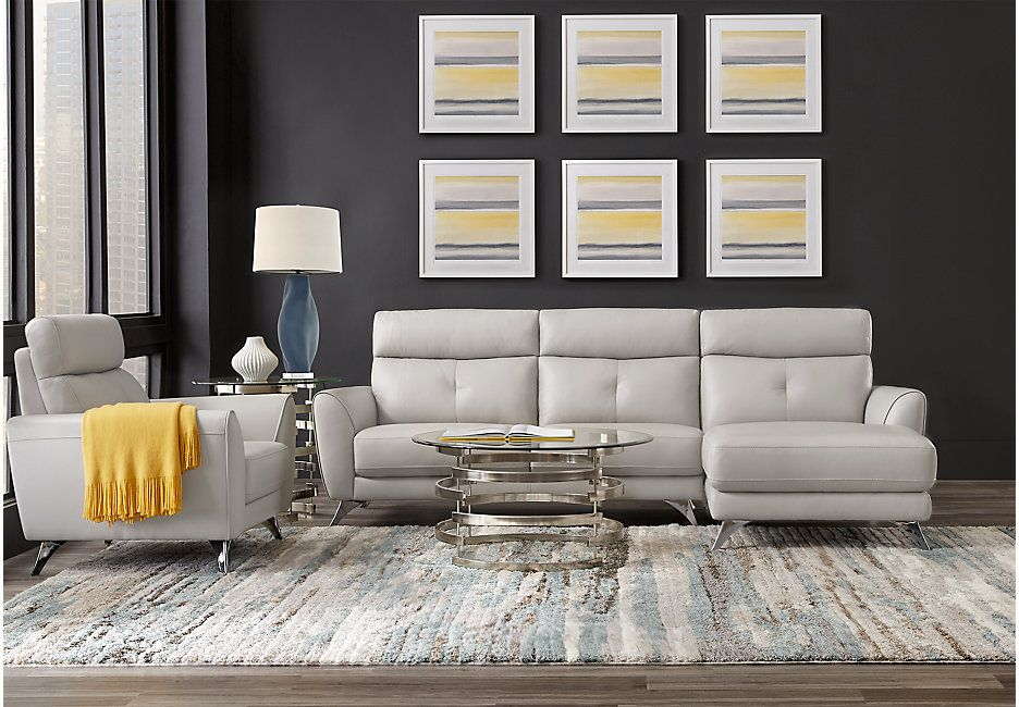 Modena Gray Leather 2 Pc Sectional Living Room Leather Living Room Sets Furniture Leather Living Room Set