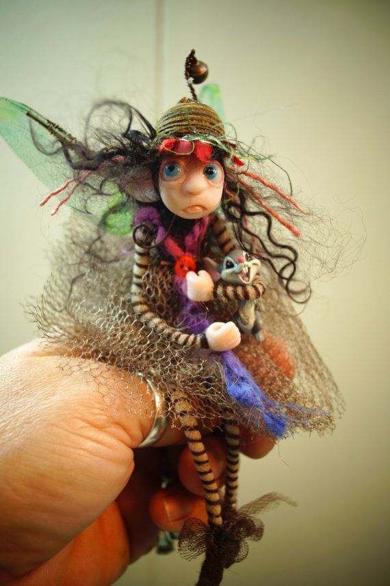 SALE ooak poseable Tiny green PIXIE fairy rides a