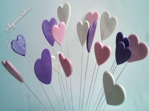 20 corazones de azúcar comestibles en decoración de hilos San Valentín amor torta toppers con cable