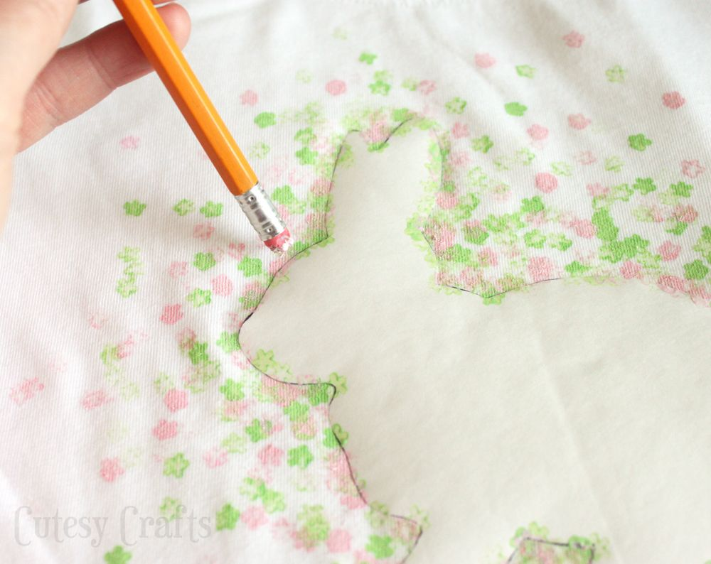 Eraser-Stamped Easter Bunny Shirt - Cutesy Crafts