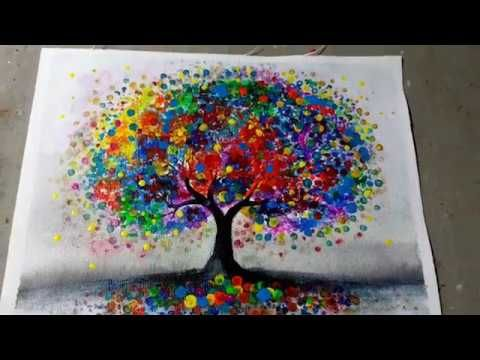 Colorful Abstract Tree Painting Technique Acrylic Easy Creative Art Youtube Whimsy