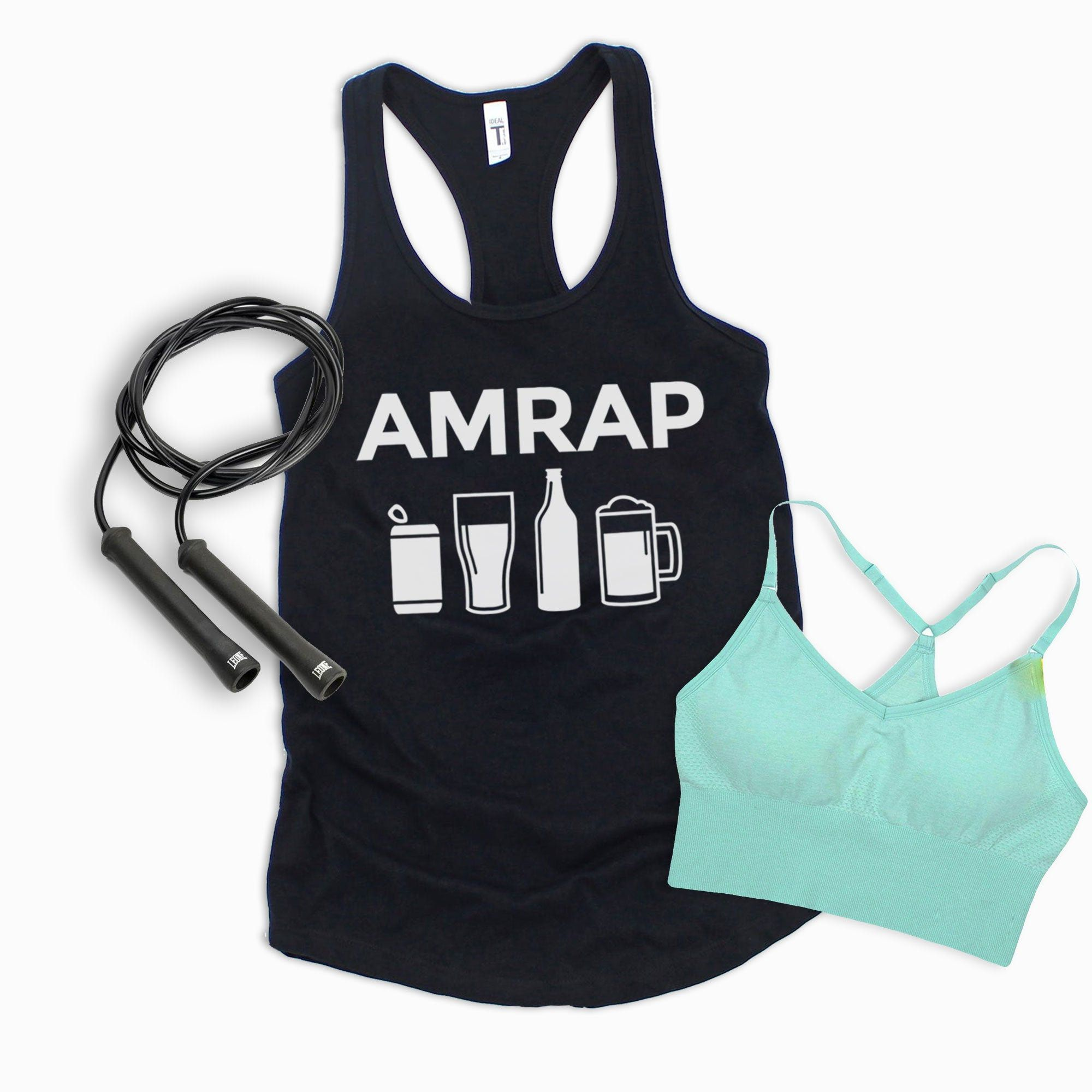 AMRAP Beer funny gym shirt Crossfit shirt workout tank for women funny beer shirt