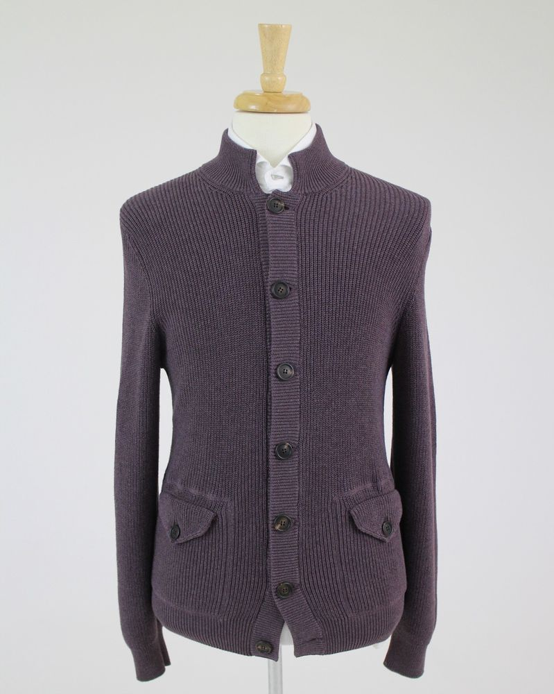 NWT. Brunello Cucinelli Brown Cable Knit Cotton Cardigan Sweater ...