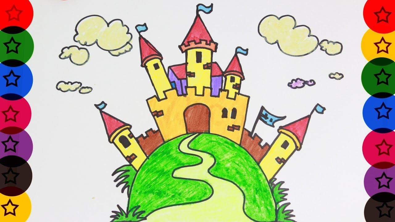 CASTLE DRAWING COLOUR DRAWING HOW TO DRAW CASTLE LEARN