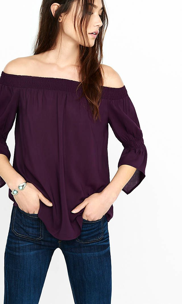 c0356ac26532 Dark Berry Smocked Off The Shoulder Blouse from EXPRESS  this color is one  of my favorite colors for clothes. This shirt also looks fun and great for  ...