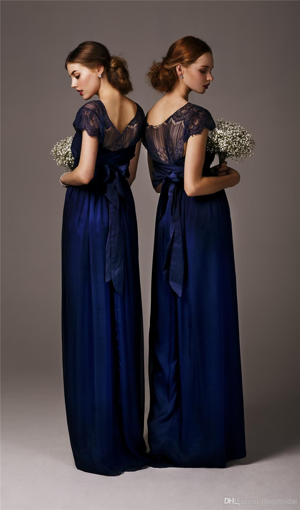 most popular lace applique dark blue bridesmaid dresses with