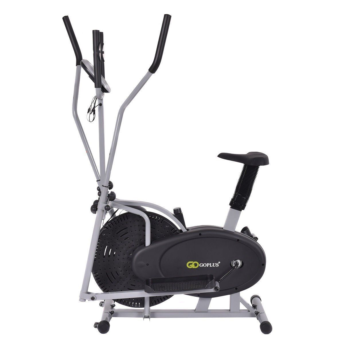 Gymax 2 In 1 Elliptical Fan Trainer Exercise Bike Indoor Home