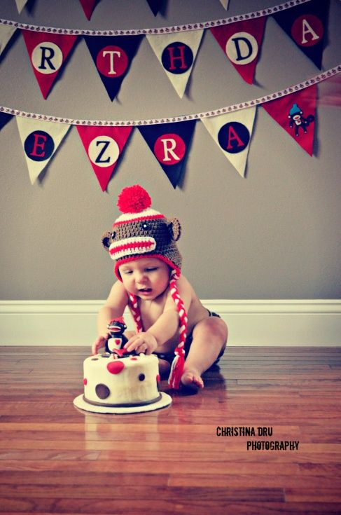 Excellent Sock Monkey Smash The Cake With Images Monkey Birthday Parties Funny Birthday Cards Online Barepcheapnameinfo