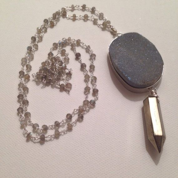 Druzy and pyrite point necklace by NaturalGLOdesigns on Etsy