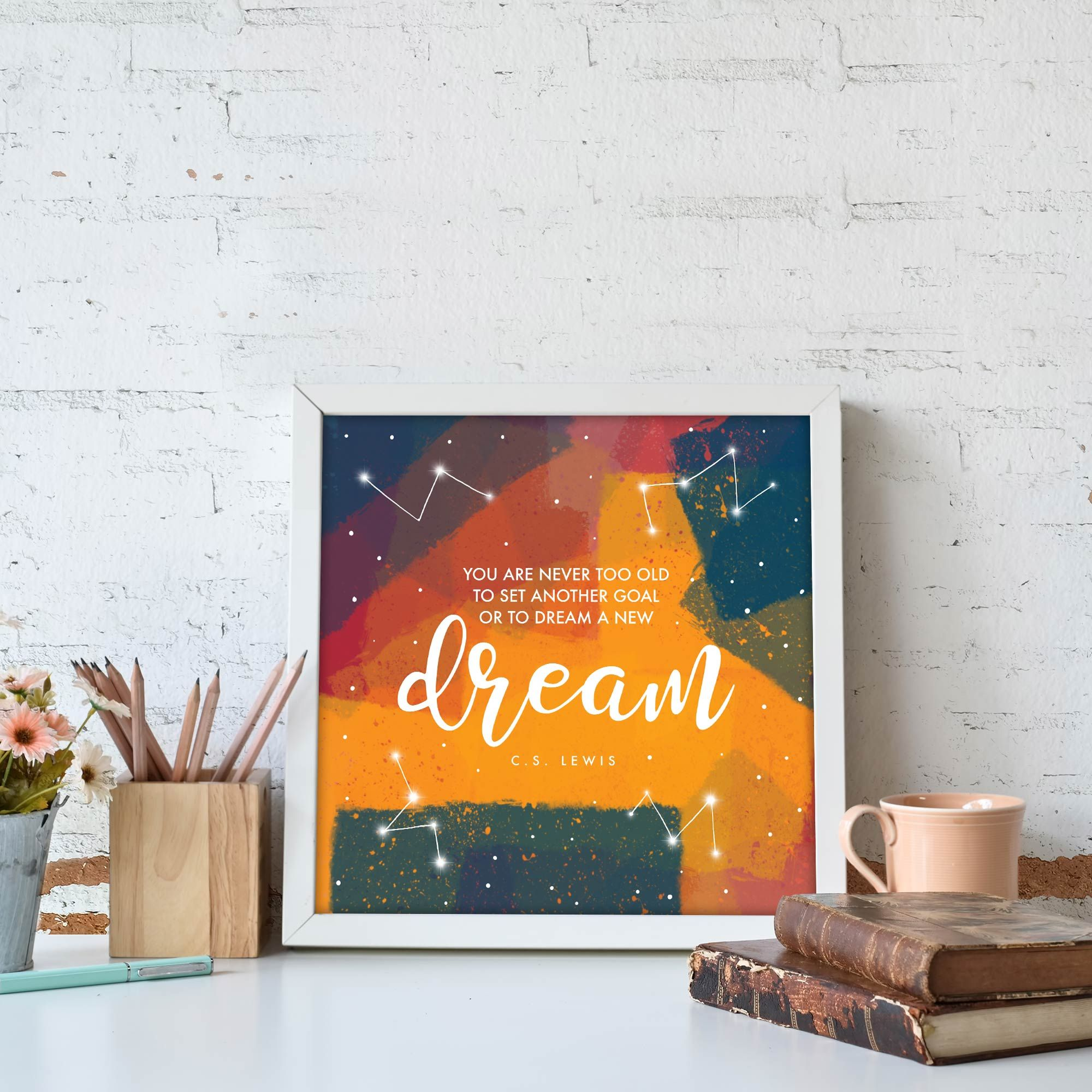 Brighten up any room with our Dream print! #etsyshop #printsforsale #woodcreativellc #walldecor #wallart #originalprints #illustration #dream #nurseryart #nursery #cslewis #office #officeart #quote