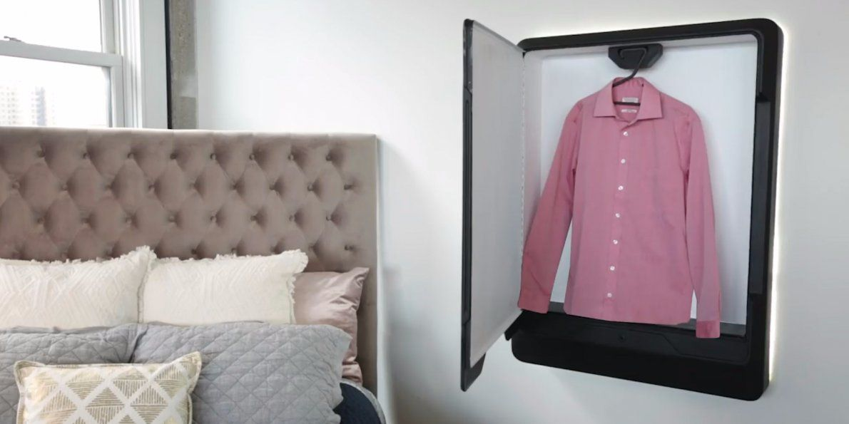 This wall mounted machine can steam, dry-clean, and de