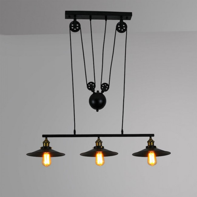 Winsoon Large Size Black Iron Painted Creative Pulley Style 3 Lights Pendant In 2020 Industrial Pendant Lights Industrial Hanging Lights Pendant Lighting
