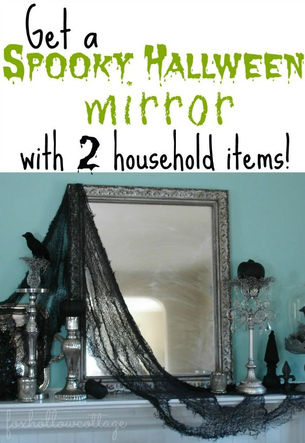 Get a Spooky Haunted Halloween Mirror with 2 household items #halloween #ideas