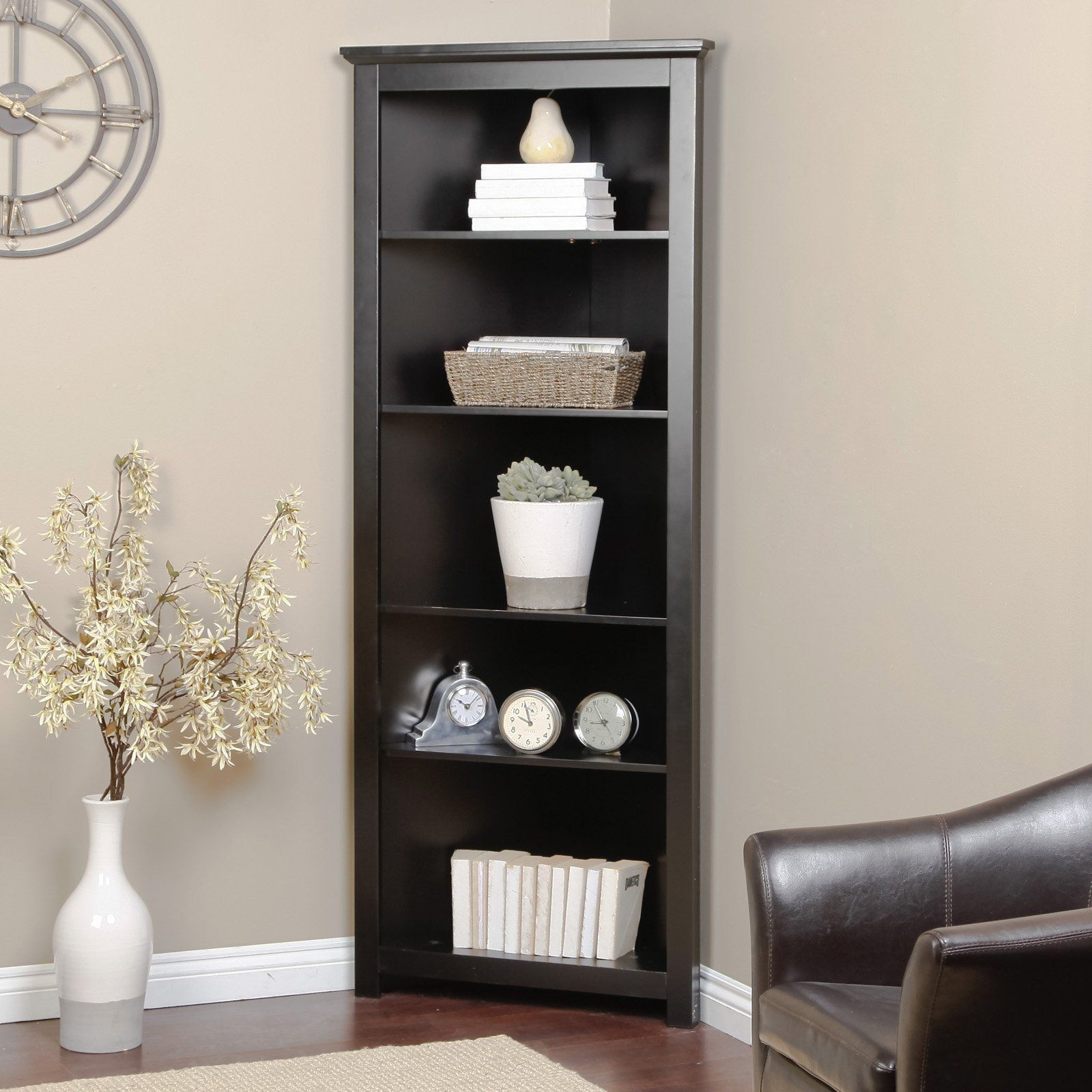 Finley Home Redford Corner Bookcase Corner Cabinet Living Room Corner Bookshelves Living Room Corner