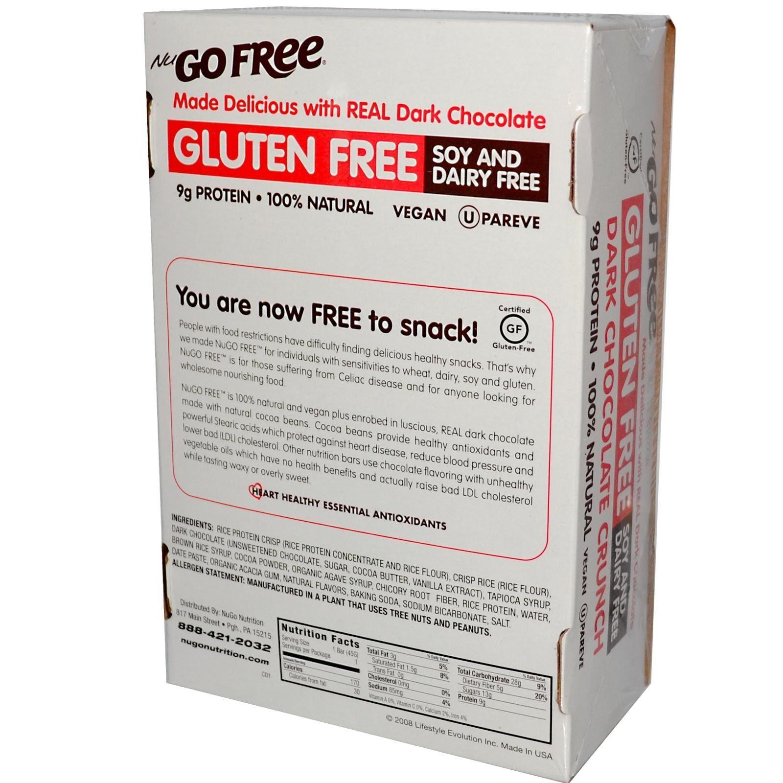 NuGo Nutrition, Free, Gluten Free, Dark Chocolate Crunch, 12 Bars, 1.59 oz (45 g) Each