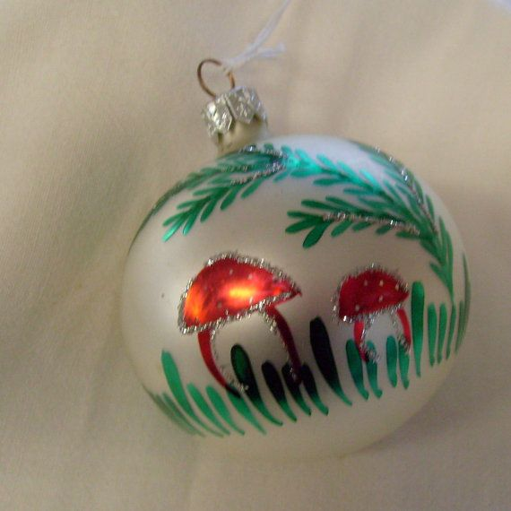 Vintage silver glass ball ornament hand painted mushroom with glitter by thevintageelf, $15.00