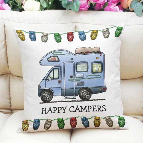 Happy Camper Printing Throw Pillow Case