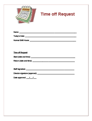 Time Off Request Form For Child Care Staff  Books Worth Reading