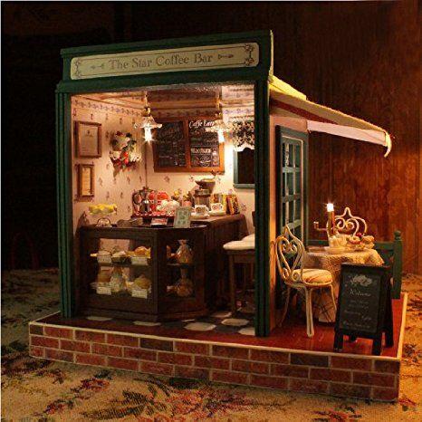 Rylai Wooden Handmade Dollhouse Miniature Diy Kit The Star Coffee