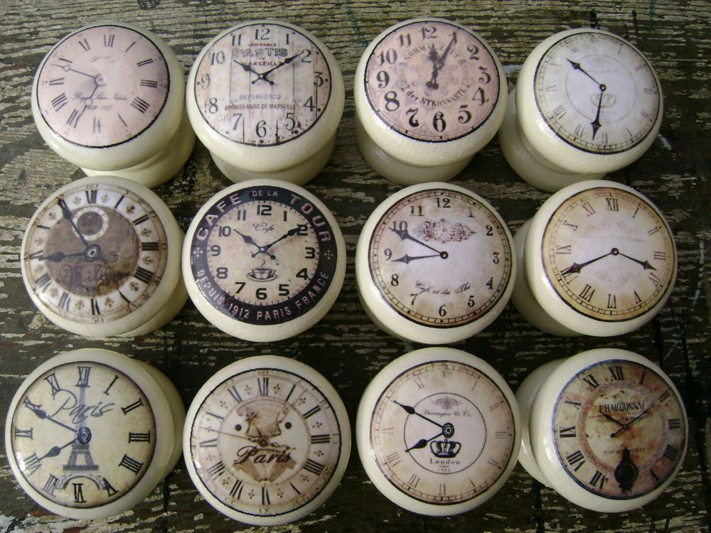 Shabby cream clocks, vintage chic, cupboard door/drawer knobs ...