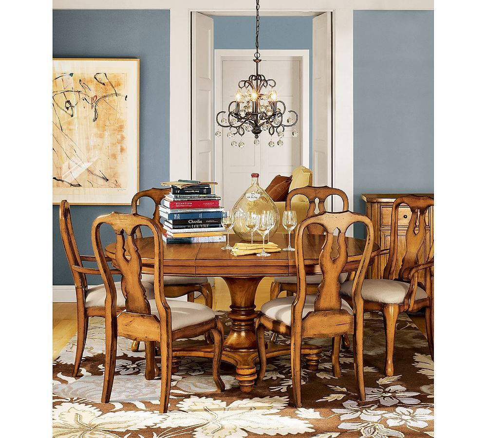 Blue walls | Dining room wall color, Pottery barn dining ...