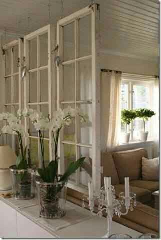 What A Great Way To Create Transpa Room Divider Hang Old Windows From The Ceiling
