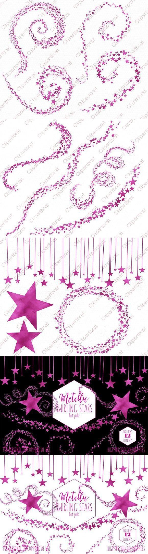 Metallic Pink Foil Star Graphics Pink foil, Star clipart
