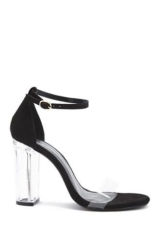 3843b694c2e Faux Suede Lucite Heels in 2019
