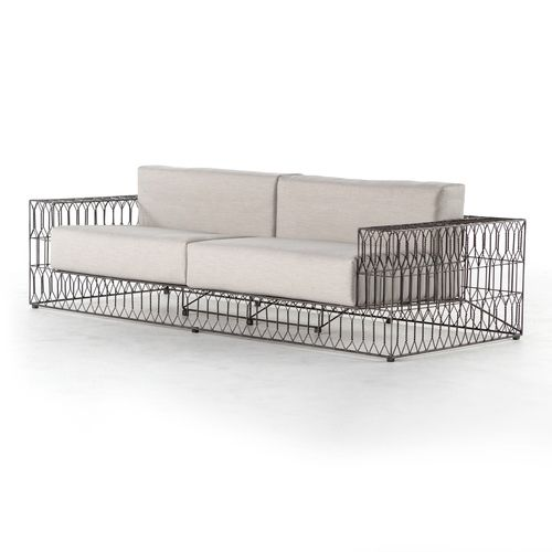 The Torrance Sofa Provides A Playful Twist On Classic Rattan. The Block Arm  Sofa Is Re Interpreted In Open Weave Iron For An Airy Yet Substantial Feel.
