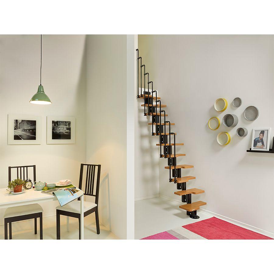 Arke Nice2 9 7 Ft Black Modular Staircase Kit Lowes Com Modular Staircase Staircase Kits Attic Rooms