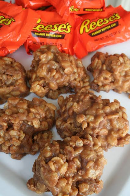 OMG to die for. gotta try. Reeses Krispies  Melt 4 peanut butter cups and 2 tablespoons of peanut butter in a pan with 3 tablespoons of butter ;Dump in 6 cups of Rice Krispies and stir again ;Press into a greased pan, and let cool for two or three minutes ;Flip the pan of treats out onto a cutting board ;Cut out shapes with cookie cutters ;Cool a little longer, then eat!