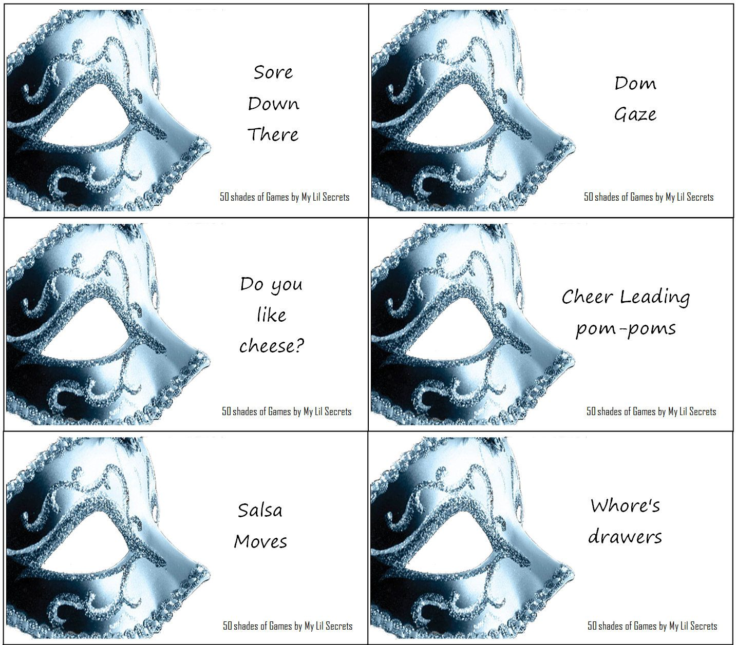 50 Shades Of Grey Party Game Adult Printables Instant Download