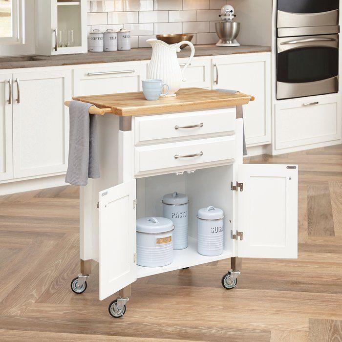 Bedford White Kitchen Cart With Butcher Block Top : Hamilton Kitchen Cart with Wood Top Kitchen islands in 2019 White kitchen cart, Kitchen cart ...