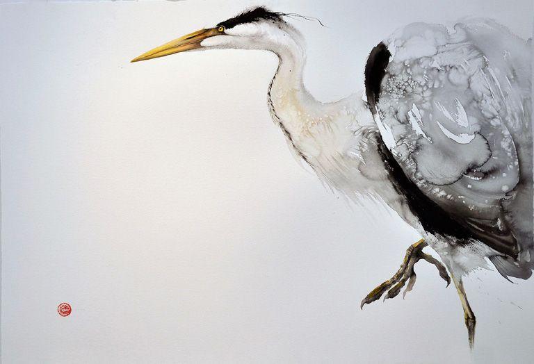Karl Martens, Gray Heron, 100x120 cm