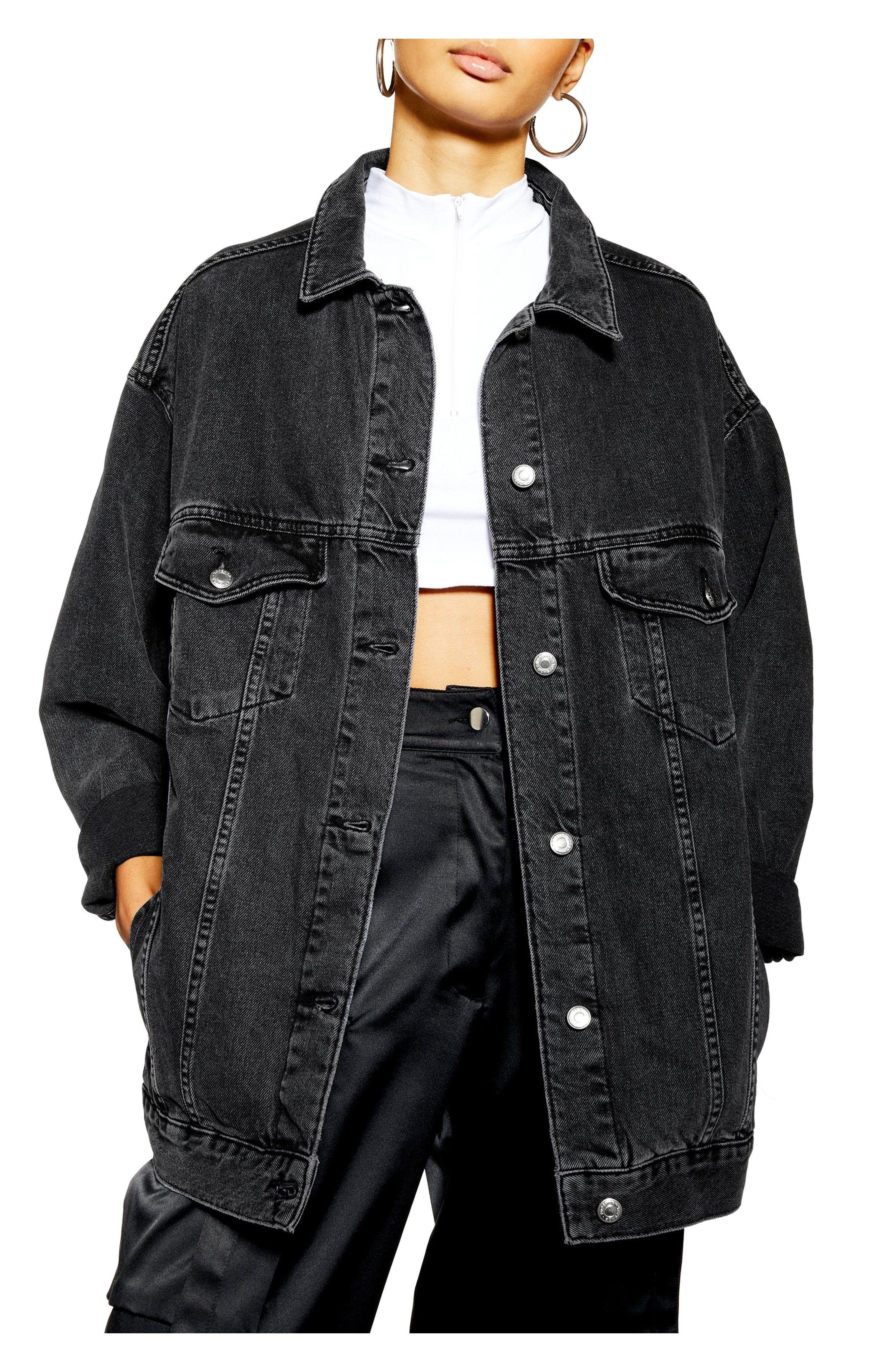 Topshop Oversize Denim Jacket Nordstrom Black Oversized Denim Jacket Women S T Oversized Black Denim Jacket Black Denim Jacket Outfit Jacket Outfit Women [ 4290 x 2744 Pixel ]