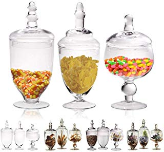 MyGift Set of 3 Silver Mercury Glass Apothecary Jars Weddings Centerpiece Candy Buffet