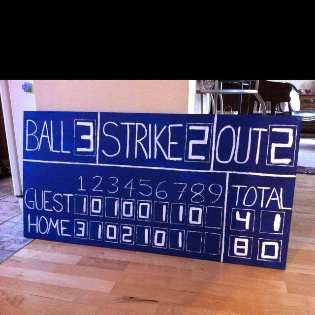 Baseball Scoreboard Painted On 2x4 Plywood For My Sons All Sport Themed Bedroom