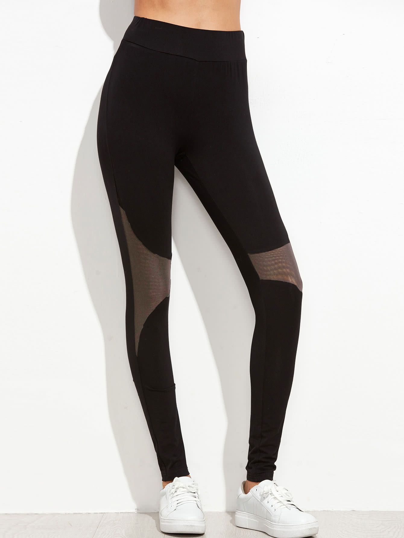 84912ad4d3831 Shop Black Contrast Mesh Panel Leggings online. SheIn offers Black Contrast  Mesh Panel Leggings & more to fit your fashionable needs.