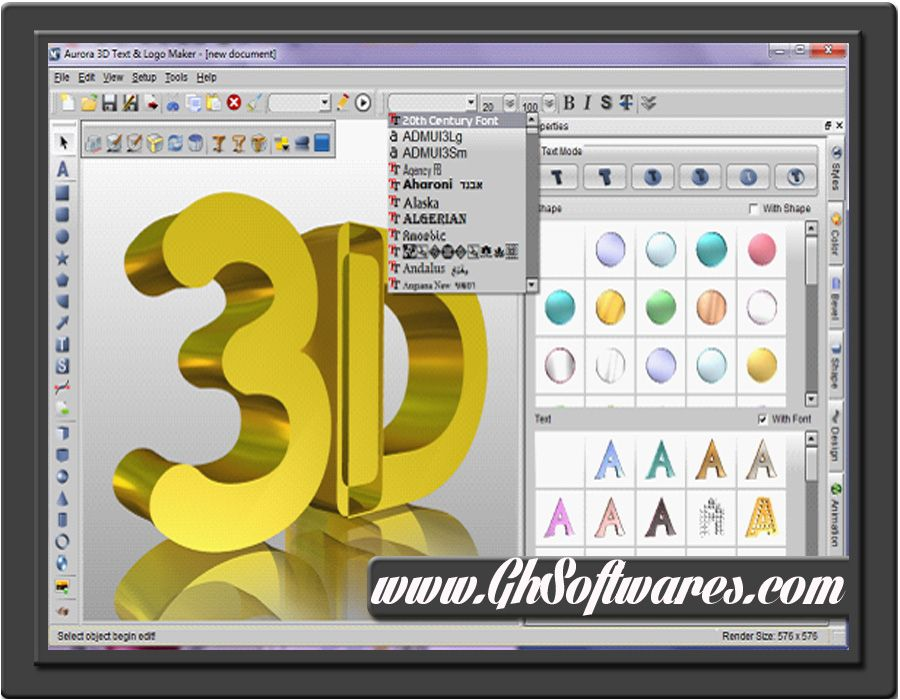 Aurora 3d text logo maker free download 3d layout design software free