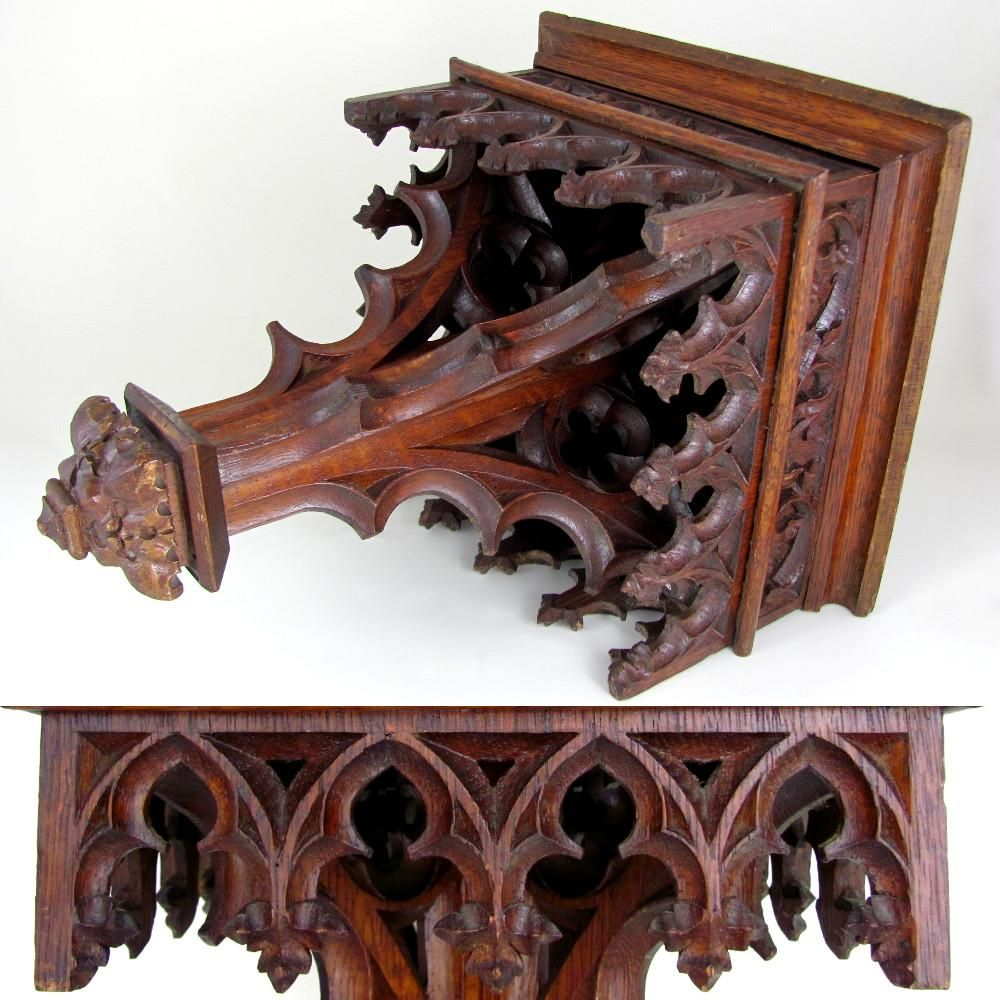 Large Antique 19thc Gothic Hand Carved Wood Reticulated Wall Mount