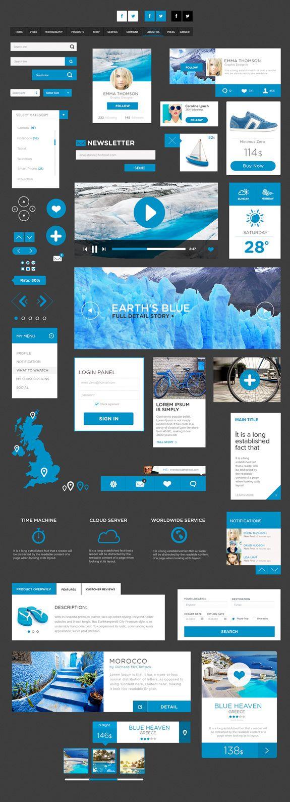 Infographics Ui Design Et Web Design: 22 UI Kits PSD Pour Vos Futures Créations