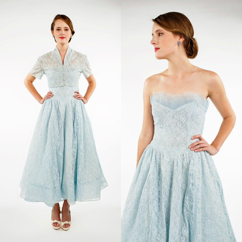 1950s Bridesmaid Dress --- Vintage Strapless Blue Dress with Bolero ...