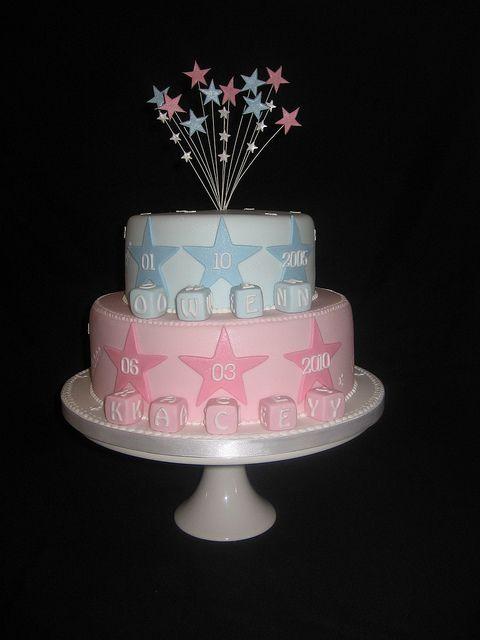 2 tier boy and girl christening cake