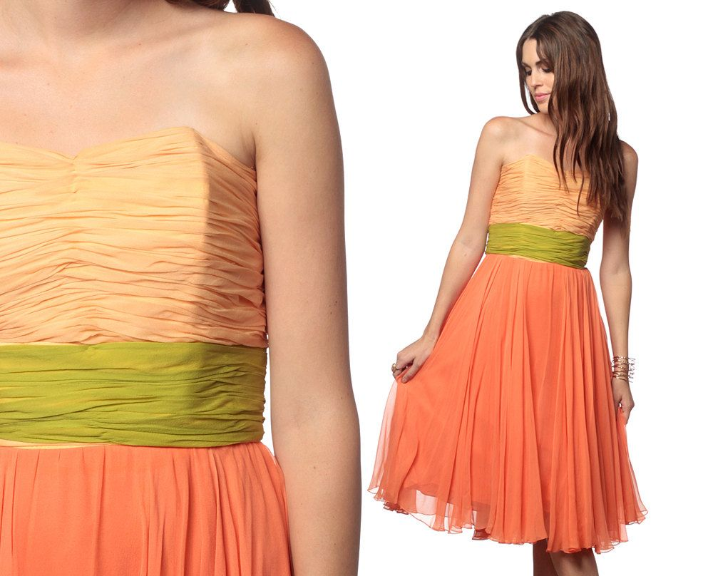 Reserved chiffon party dress strapless peach s cocktail dreamy mad