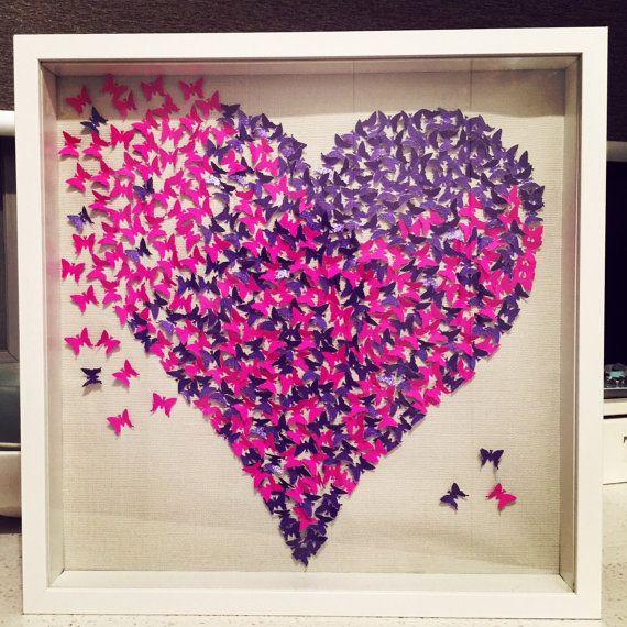 3D Pink Butterfly Heart Girls Room Mothers Day Wall By MonCraft1