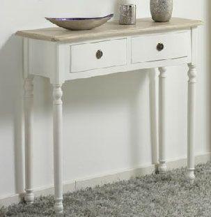 mesa consola blanca con patas torneadas y tablero color madera