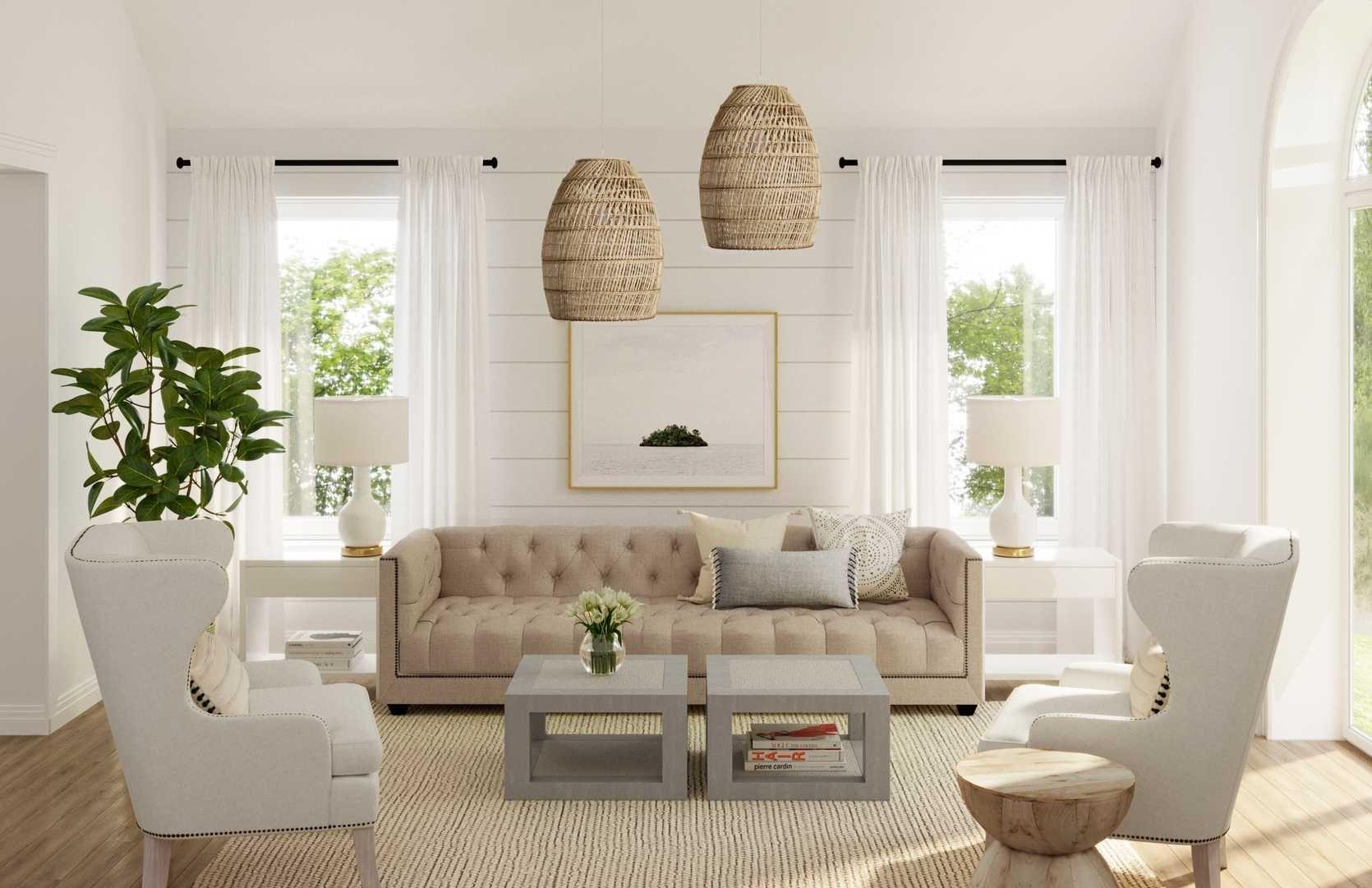 Modern, Bohemian, Coastal, Farmhouse Living Room Design by