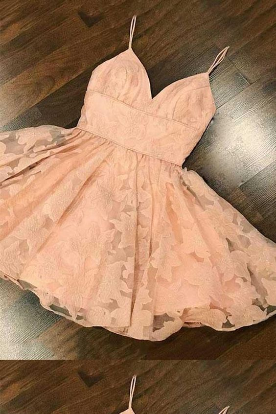 Absorbing Pink Homecoming Dresses, Homecoming Dresses A-Line #lacehomecomingdresses