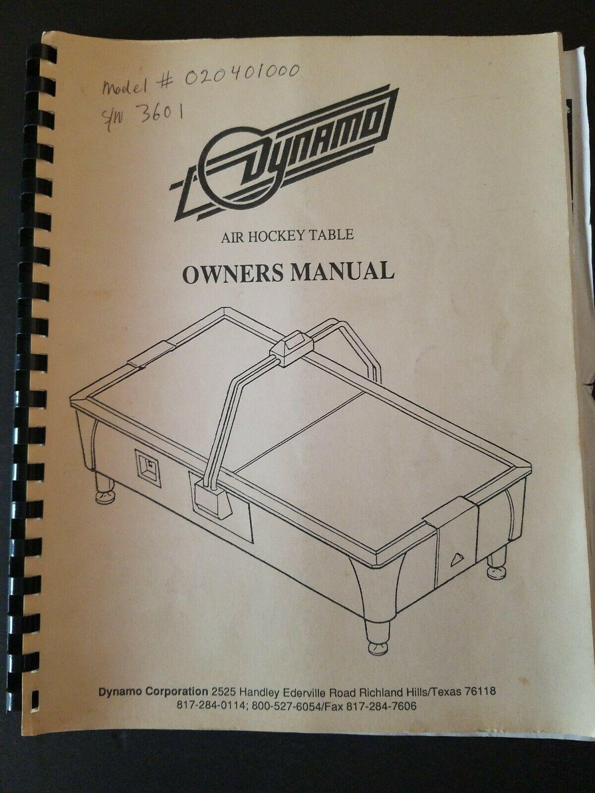 Original Dynamo Air Hockey Table Owners Manual 17.99 Air