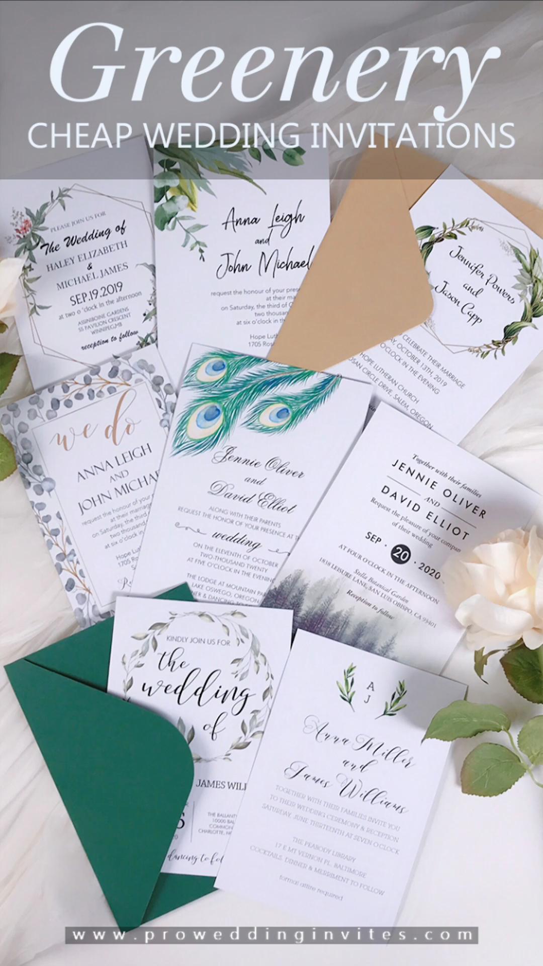 Affordable Wedding Invitation Cards Greenery And Botanical Leaf Pattern Wedding Invitations